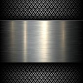 Metal plate texture on dark pattern background, vector illustration.