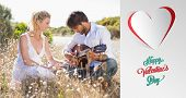 pic of serenade  - Handsome man serenading his girlfriend with guitar against cute valentines message - JPG