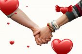 Students holding hands against hearts