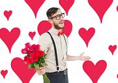 Geeky hipster offering bunch of roses against valentines day pattern