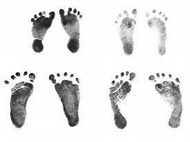 foto of baby delivery  - Authentic Newborn Baby Ink Footprints  - JPG