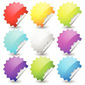 picture of starburst  - Starburst shape sticker set in 9 colors - JPG