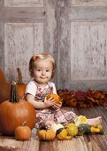 stock photo of gourds  - Adorable baby girl sitting next to pumpkins and gourds and other fall decor - JPG