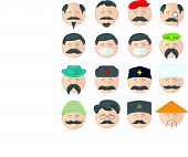 picture of hairline  - Flat vector illustration icons set with many cartoon persons with different equipment - JPG