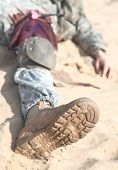 image of medevac  - Wounded US paratrooper airborne infantrymen in the desert - JPG