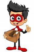 picture of superhero  - A cartoon illustration of a Superhero Boy character dressed in a red superhero costume - JPG