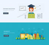image of online education  - Flat design modern vector illustration icons set of online education - JPG
