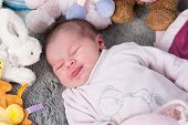 image of born  - Close up of new born baby with cute expression - JPG