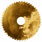 foto of gold tooth  - Painted in gold color circular saw blade isolated on white - JPG