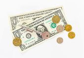 picture of currency  - US Currency Isolated on White Background - JPG