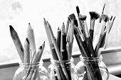 Постер, плакат: Black And White Photo Of Fine Art Supplies
