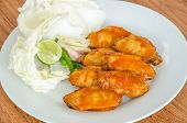 stock photo of bbq food  - BBQ Chicken Wings on white dish  - JPG