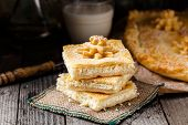 image of curd  - Delicious homemade pie stuffed with sweet curd - JPG