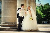 image of married  - wedding day of  happy just married newlyweds - JPG