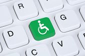 picture of disabled person  - Web accessibility online on internet website computer for handicap people with disabilities - JPG