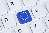 stock photo of european  - Europe EU European Union flag online internet on computer keyboard - JPG