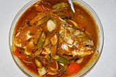 picture of malaysian food  - Fish Head Curry in the Bowl - JPG