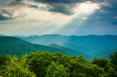 picture of blue ridge mountains  - Crepuscular rays over the Blue Ridge Mountains seen from Loft Mountain in Shenandoah National Park Virginia - JPG