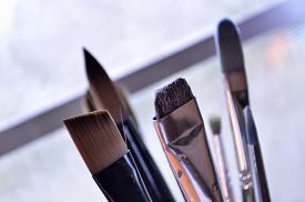 pic of filbert  - Bouquet of six paintbrushes of various sizes and shapes standing upright in art studio - JPG