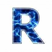Electric 3d letter on white background - r