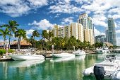 Hotel Buildings With Yachts And Palm Trees poster