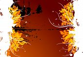 Abstract Vector Grunge Floral Background