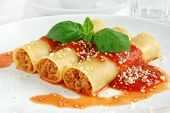 Cannelloni with meat and fresh basil
