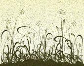 Ilustração em vetor editável de uma gramíneo Prado e grunge