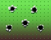 Background design of bullet holes in green metal