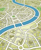 Illustration of a nameless street map from an angled perspective. Editable vector file (.eps) also a