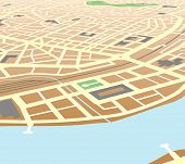 Map of a generic city at an angled perspective. Editable vector file (.eps) also available.