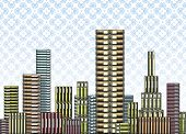Editable vector illustration of piles of books as a city skyline with wallpaper behind.