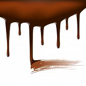 Editable vector illustration of dripping chocolate sauce with a smear where it has been tasted