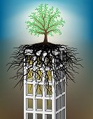 Illustration of a tree growing on a tower block