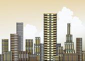 Editable vector illustration of piles of books as a city skyline