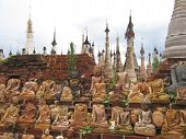 Group Of Decapitated Sitted Buddhas, Kakku, Myanmar