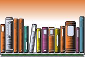 Editable vector illustration of colorful books on a shelf in woodcut style