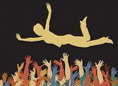 Editable vector illustration of a woman being caught by many hands