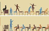 Illustrated silhouettes of two colorful classroom scenes
