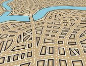 Editable vector illustration of an angled generic street map with no names