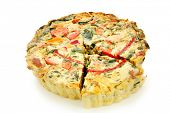 Vegetable quiche, ready for serving.