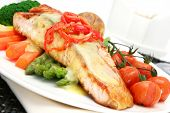 Salmon dinner ~ grilled salmon fillet with fresh asparagus, baby carrots, broccoli, cherry tomatoes,