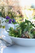 Salad, al fresco, with avocado, walnuts, croutons, and mixed greens.
