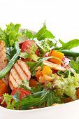 Chicken and roasted vegetable salad, with mixed greens.  Delicious healthy eating.