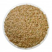 Bowl of brown rice, isolated on white.  Clipping path included.