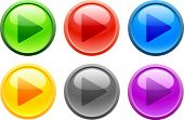 6 high-detailed buttons. Play.  Vector illustration.