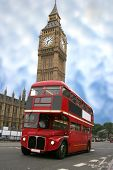 stock photo of big-ben  - colourful big ben with a classic london bus in front - JPG