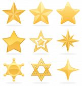 picture of pentacle  - 9 Golden star icons. 