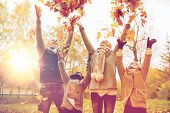 family, childhood, season and people concept - happy family playing with autumn leaves in park poster