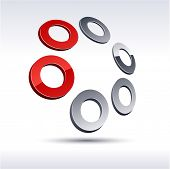 Abstract modern 3d rings icon. Vector.